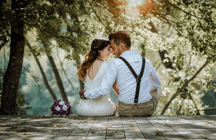 влюбленные, свадьба, природа