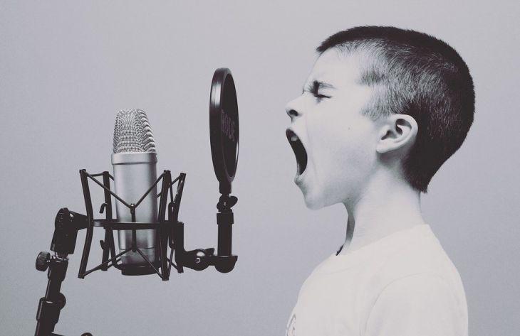 мальчик, поет, микрофон